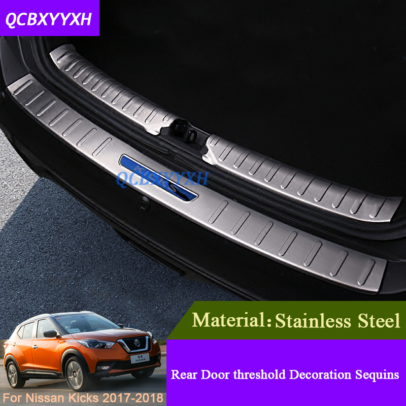 External Decoration Car Styling Stainless Steel Internal And External Car Rear Door threshold Trim Sequins For Nissan Kicks 2017 2016 car styling stainless steel handbrake sequined internal decoration for mitsubishi asx 2015