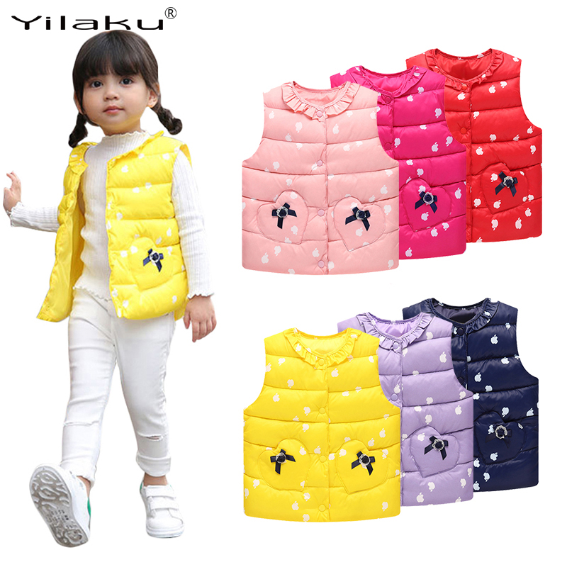 6f598860f 2017 New Winter Baby Girls Vest Lace Bow Children Waistcoat Autumn ...