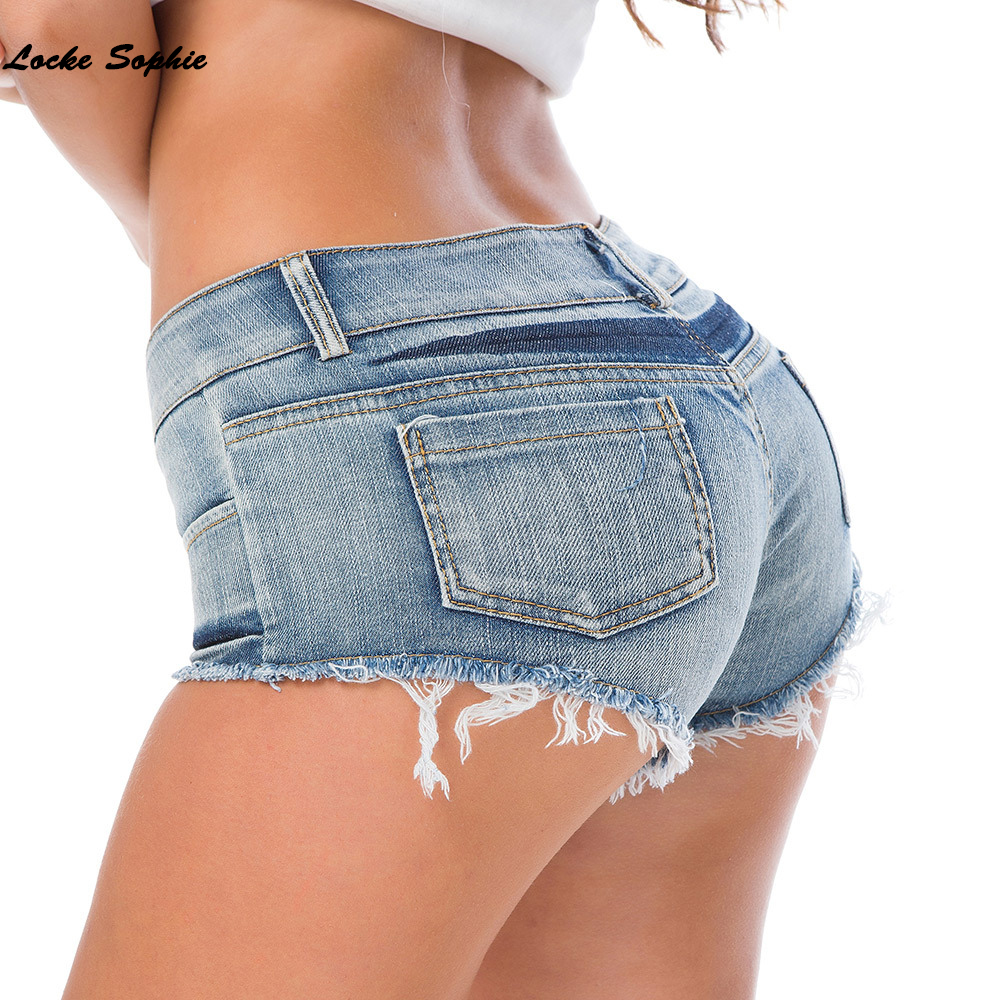 Low waist   shorts   Sexy Women's jeans denim   shorts   2019 Summer Fashion Tassels Ladies Skinny denim cotton super   short   jeans Girls