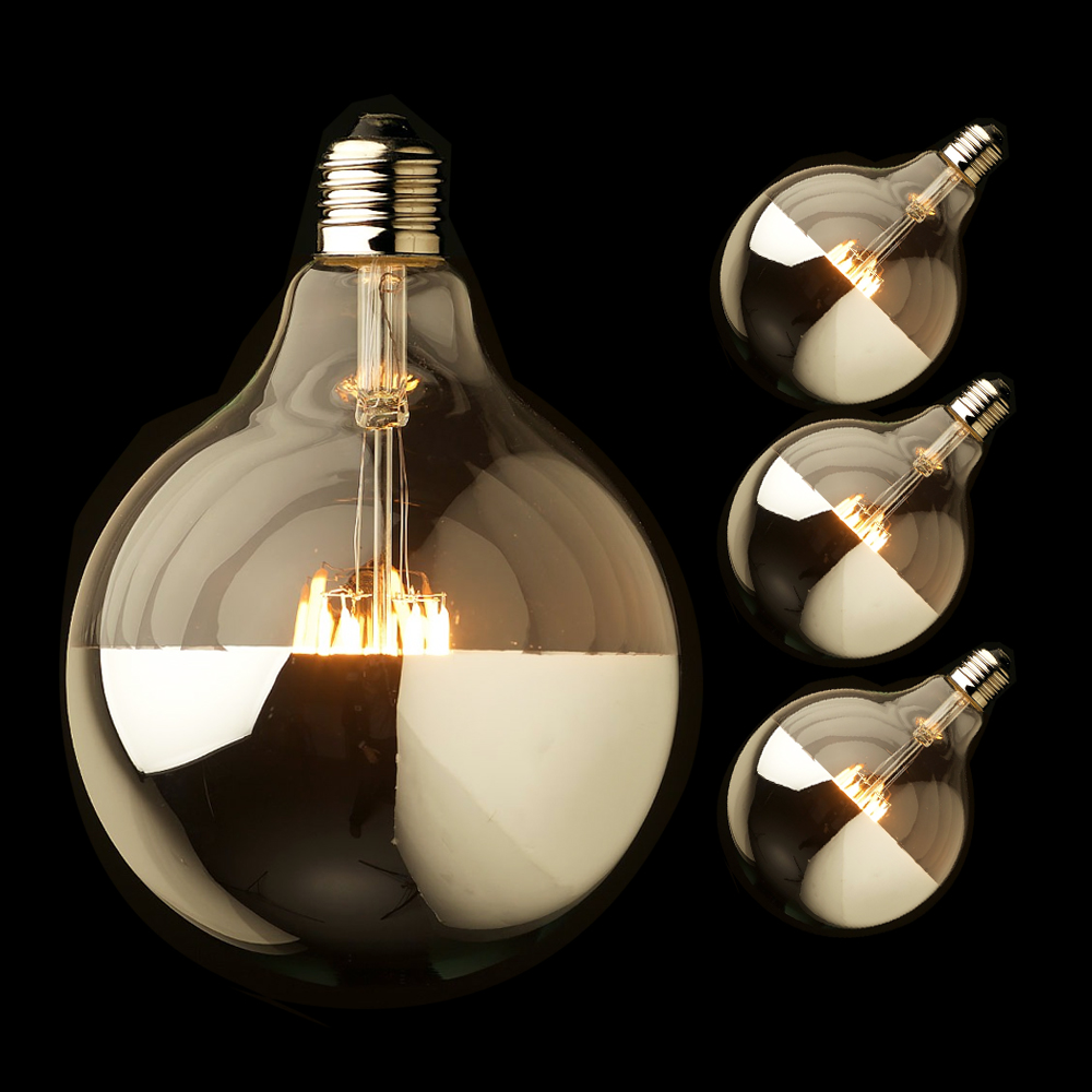 G125 10W E27 LED Crown Sliver Light Bulb Mirror Top Vintage Led Filament Bulb Warm White