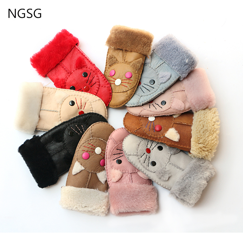 2017 NGSG WG006 Winter New Fashion And Causal Gloves For Man And Women Brown Warm And Cute Real Sheepskin Gloves  WG006