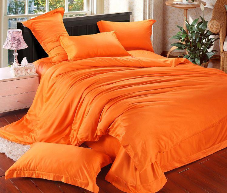 New Arrival Romantic Bedspread Orange Color Duvet Cover King Size Bedding Set Bed Linen Bed