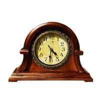 Round Retro Wood Desktop Clock Vintage Large Office Decor Clock Vintage Needle Household Decoration Seat Clock
