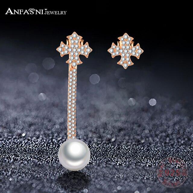 Anfasni 925 Sterling Silver New Arrival Lead Nickel Free Snowflake Pearl Earrings Fashion Ear Jewelry