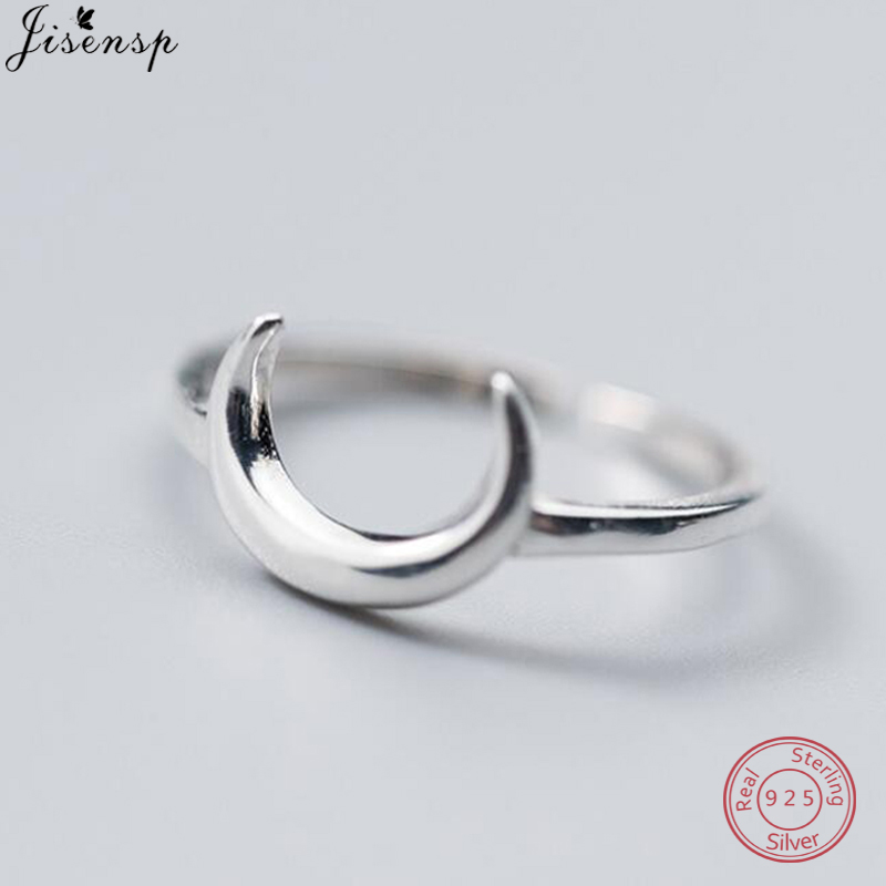 Jisensp Tiny Cute 925 Sterling Silver Half Moon Rings For Women Simple Flat Crescent Moon Knuckle Ring Female Jewelry Gifts