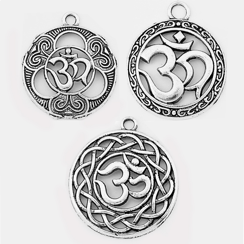 5pcs Antique Silver OHM/OM/AUM Symbol Yoga Round Charms Pendants Hollow Beads Jewelry Findings