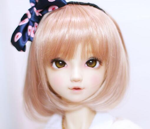 New 22-24cm Honey Brown Short hair /Wig For 1/3 BJD SD LUTS DD Doll Wig