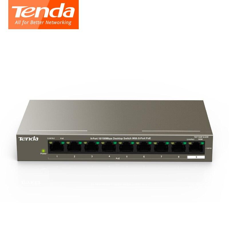 テンダ TEF1109P 8 63W 高速イーサネット全二重 10/100 Mbps 1.8 5gbps スイッチ容量 58 ワット、 250 M 、 6KV 雷保護  グループ上の パソコン & オフィス からの ネットワークスィッチ の中 1