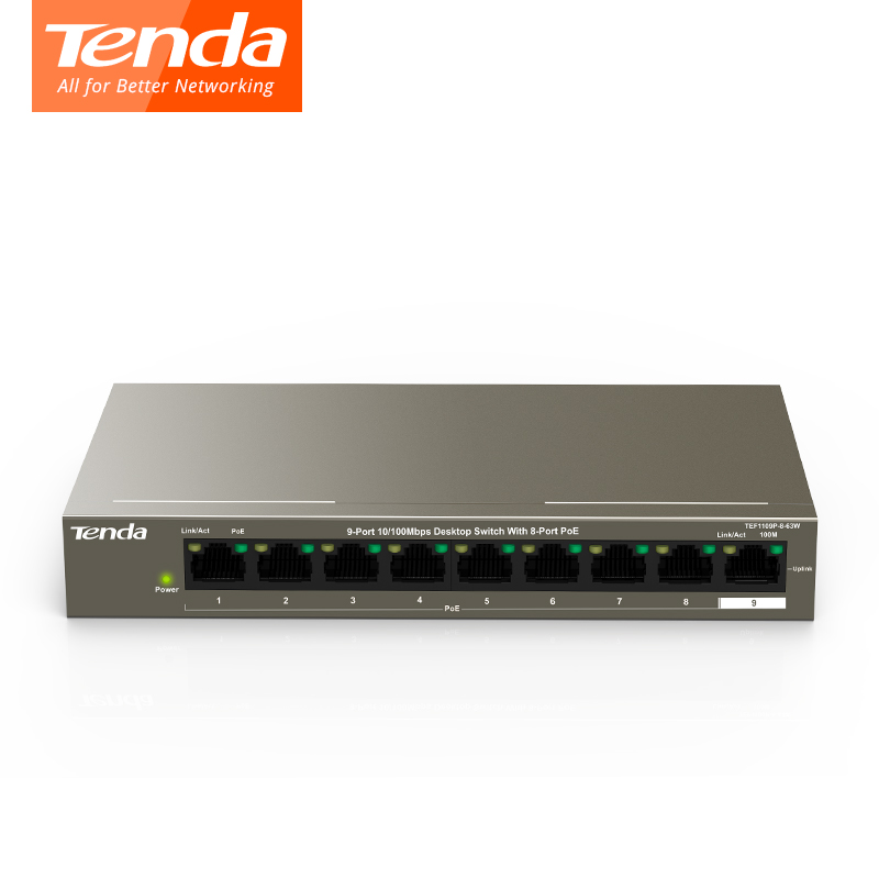Tenda TEF1109P-8-63W POE Switch Fast Ethernet Switch Full-Duplex 10/100Mbps 1.8Gbps Capacity 58W, 250M, 6KV Lightning ProtectionTenda TEF1109P-8-63W POE Switch Fast Ethernet Switch Full-Duplex 10/100Mbps 1.8Gbps Capacity 58W, 250M, 6KV Lightning Protection