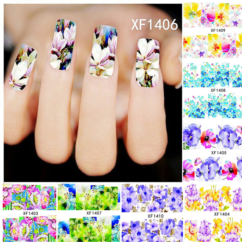 10Pcs 3D Nail Stickers Water Transfer Nail Water Decals Nails Art Sticker Accessories Manicure Decal Multi-color Flower Sticker