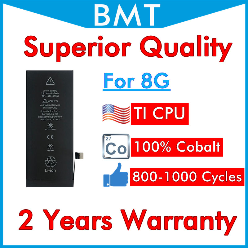 BMT Original 5pcs Superior Quality 100 Cobalt Cell Battery for iPhone 8 8G ILC Technology in