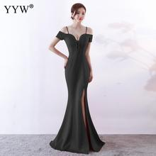 New 2019 Elegant Long Mermaid Party Dress Women Off Shoulder Lace Up Sexy Evening Dress Side Slit Beading Maxi Prom Formal Dress army green side slit off the shoulder long sleeves dress