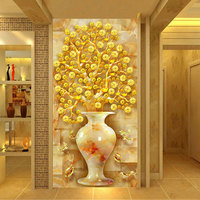 5d diamond painting full drill Vertical version of the wealth tree corridor living room money tree nine fish diamond embroidery