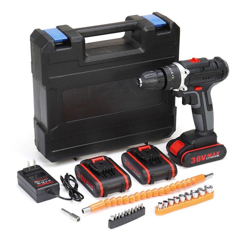 36 mAh 6500 V Furadeira sem fio Elétrico Duplo-Velocidade Brocas Kit Chave De Fenda W/1/2/ 3Pcs Li-ion Bateria Com Luz LED