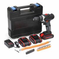 Kit de Drill de destornillador de doble velocidad eléctrico con Taladro Inalámbrico 36V 6500mAh W/1/2/ batería de iones de litio de 3 piezas con luz LED