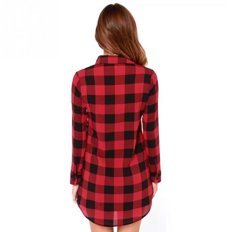 HTB1aPGGJFXXXXXIXXXXq6xXFXXXE - Flannel Shirt Women Black And Red Ladie Top Casual Blouse