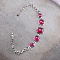 Guaranteed 925 Sterling Silver Women Cuff Bracelets Bangle Ruby Garnet Charm Classic Expandable Manchette Bracelet Femme
