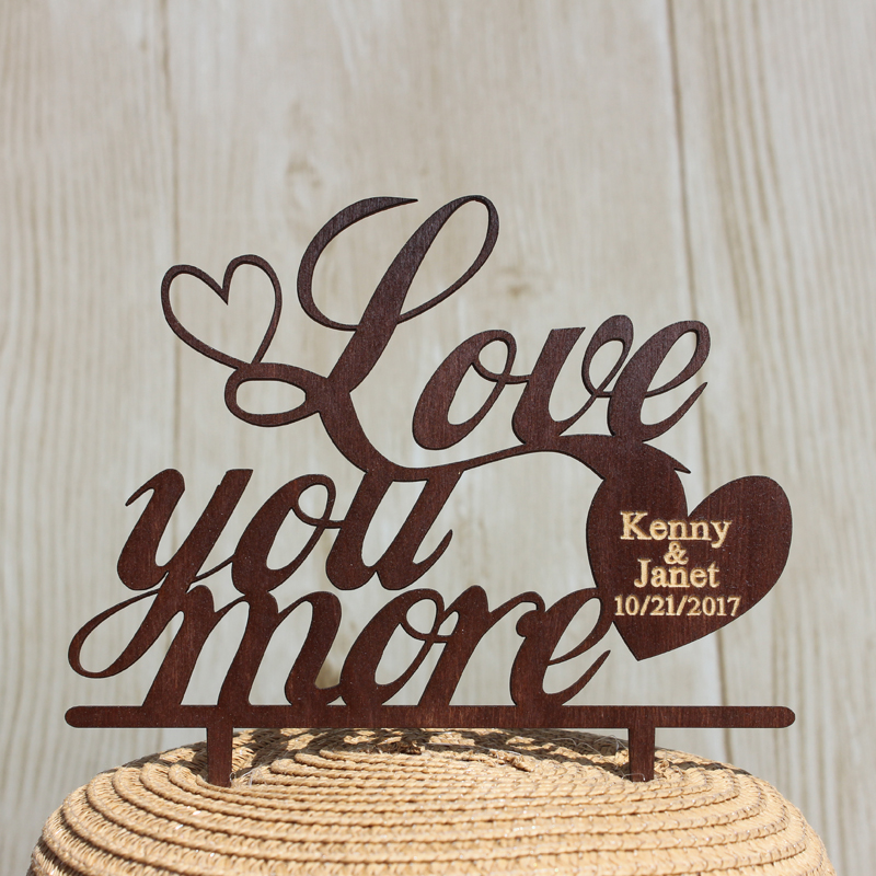 Rustic Wooden Painted Engraved Cake Topper for Wedding Accessories Custom Name Date Mr & Mrs Cake Topper Wood Love You More