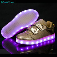 Kids Luminous Shoes 2018 New Spring USB Charger Led Glowing Sneakers For Girls Lights Children Casual