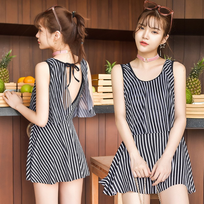 One Piece Swimwear Female Swimsuit Solid Women Plus Size Woman Swim Suit Dress 2018 Shading Sexy Big Korean Swimming Striped womens sexy one piece swimsuits solid sexy swim suit women swimwear may korean fat big yards cotton 2018 swimwear female solid