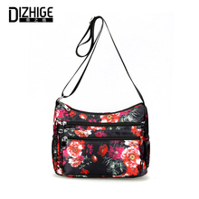 DIZHIGE Brand Multi-pocket Waterproof Nylon Women Shoulder Bag High Quality Crossbody Bags For Soft Printing Messenger