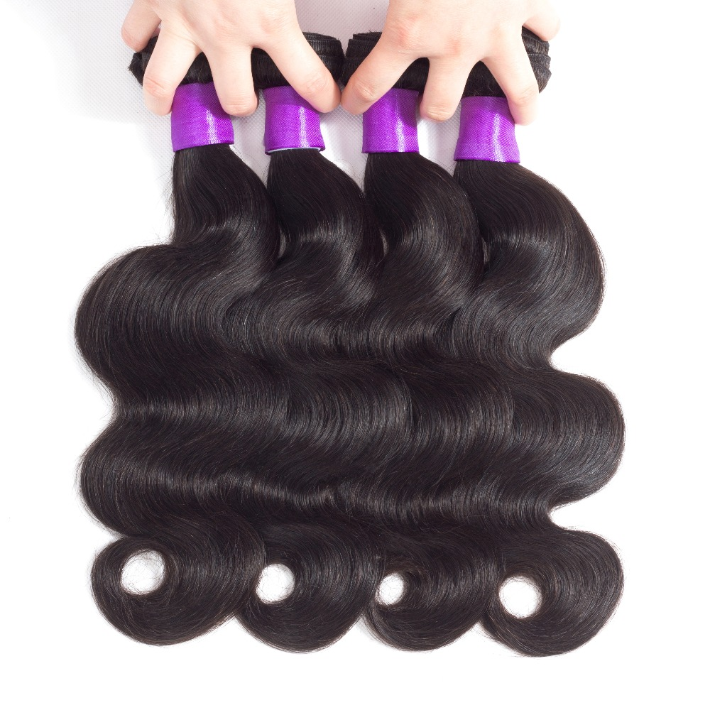 Peruvian Body Wave 4 Bundles Human Weave Hair Extentions Non Remy Wave Human Hair Bundles Natural Color Double Weft Hair Bundles