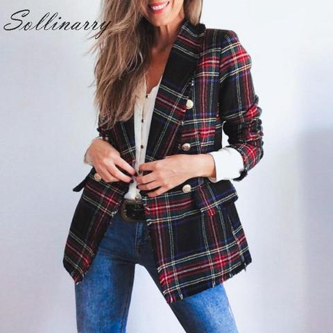 Sollinarry Classic Plaid Chic Autumn Blazer Jacket  Women Streetwear Tweed Long Sleeves Winter Blazer Coat Female Casual Coats Lahore