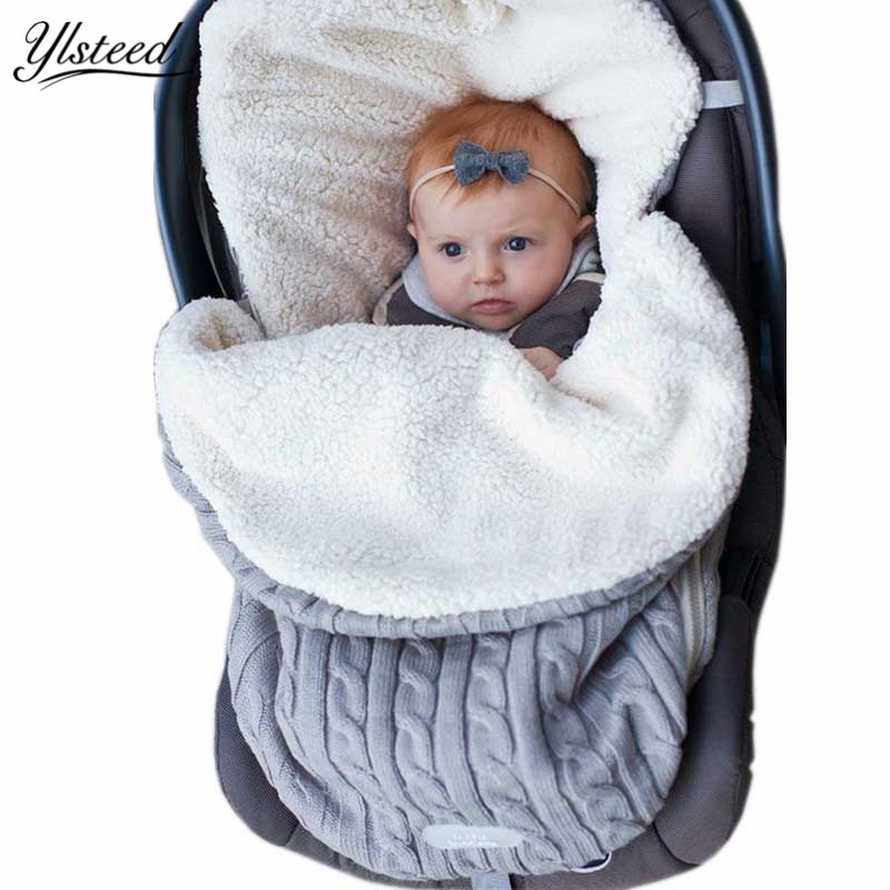 Knitted Winter Warm Zipper Newborn Sleeping Bags Baby Swaddle Wrap Infant Swaddling Blanket Sleep Sacks Baby Stroller Blankets winter newborn sleeping bags autumn knitted baby stroller swaddle wrap blankets warm infant bebe sleep sack envelopes 0 12months