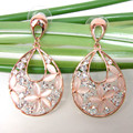 Navachi Water-drop Opal Leaves Flower  GP Rhinestone Crystal Ear Stud Earring Earrings SMT1403