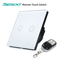 SESOO Y602 EU Standard 2 Gang 1 Way Switch With Remote Control Crystal Glass Panel Wall