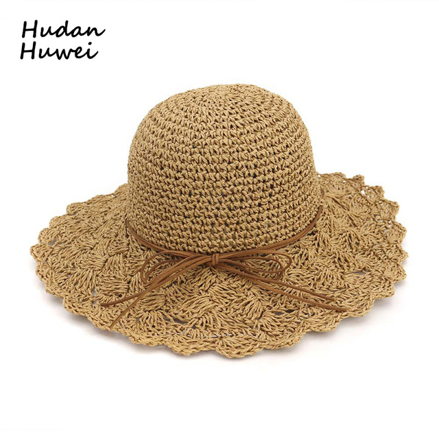 863bf35abf1 High Quality New Hand-woven Crochet Women Straw Sun Hats Folding Lady Beach  Hat Wide Brim Sunhat Breathable Spring Summer