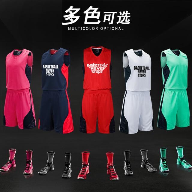 b55440b0c1bd1 Nombre personnalisé Nom Homme De Basket-Ball Jersey & Shorts 2 pcs Ensemble  Basket-