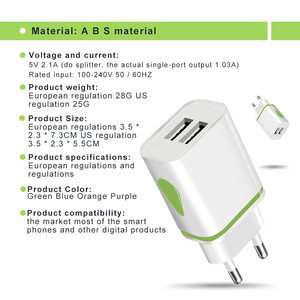 Image 4 - USB Charger Dual 2 port EU 5V 2A Travel Wall Adapter LED Light Mobile Phone usb charger For iPhone 11 Pro Max Samsung Huawei LG