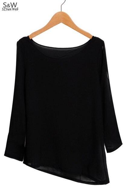 new Korean Womens Fashion Cut Out Open Shoulder Loose Shirt Chiffon Blouse Tops free shipping 18
