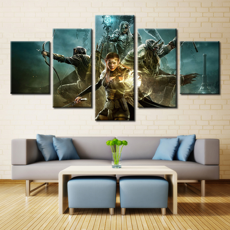 5 Panel Game Online Poster Modern Home Wall Decor Canvas Picture Art HD Print Painting On