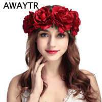 AWAYTR Wedding Flower Crown Head Band Women Wedding Floral Head Wreath Bridesmaid Bridal Headpiece Female Flower Headband