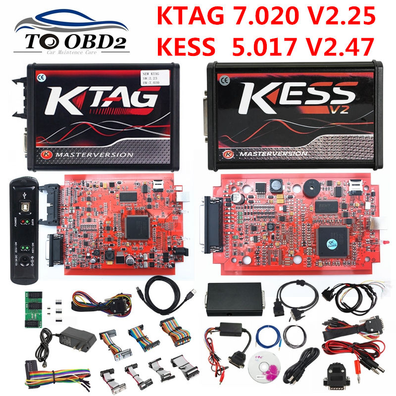 EU Version Red 4LED KTAG 7.020 V2.25 No Token Limited Multi-Language K TAG 7.020 Online Version KESS V2.47 V5.017 5.017 KESS