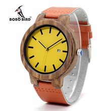 BOBO BIRD Luxury Wood Watch Men and Women Wooden Watches Genuine Leather Strap Move 2035 Quartz Wristwatch relogio femi C-O09