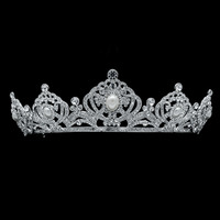 Real Austrian Crystals Pageant Queen Crowns Tiaras Headbands for Wedding Hair Accessories Prom Party Imitation Pearls SHA8663