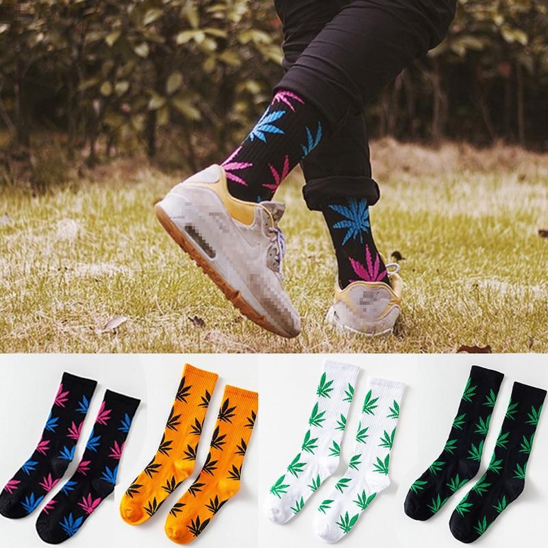 Harajuku 1Pair Cotton Socks Men Women High Quality Unisex Hemp Leaf Maple Leaves Casual Long Weed Crew Funny Socks Autumn Winter