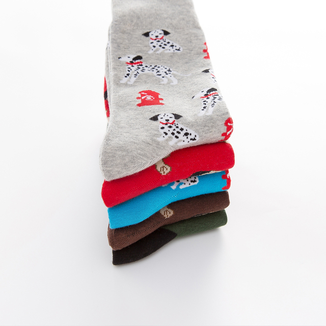 Jhouson 1 pair Colorful Men's Combed cotton Funny Socks Novelty Casual Dog Pattern Crew Skateboard Socks For Wedding Gifts 5