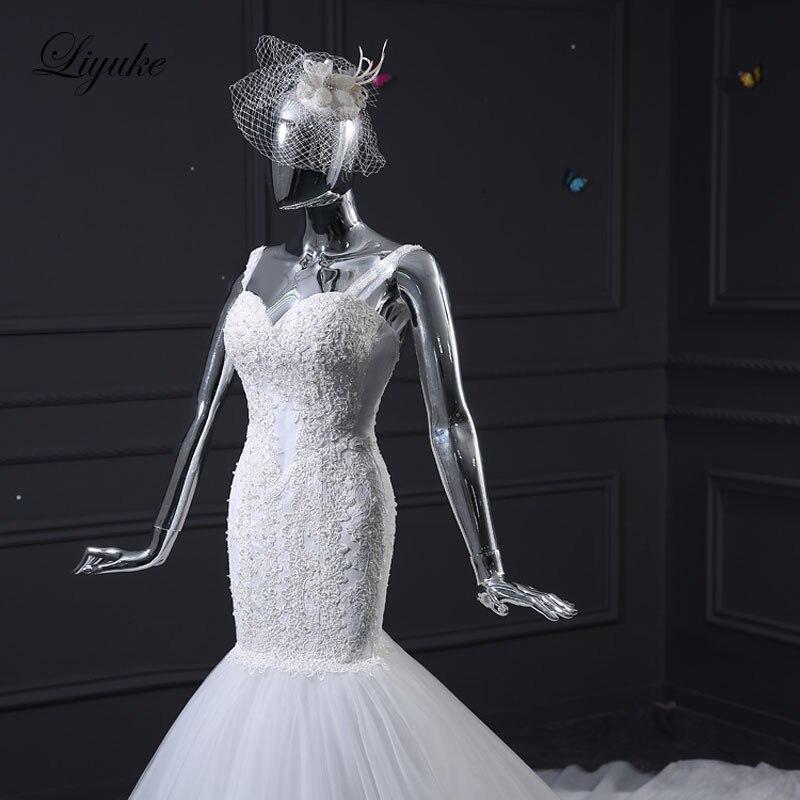 Liyuke J35 Fabulous Tulle Sweetheart Zeemeermin Trouwjurken Kapel - Trouwjurken - Foto 6