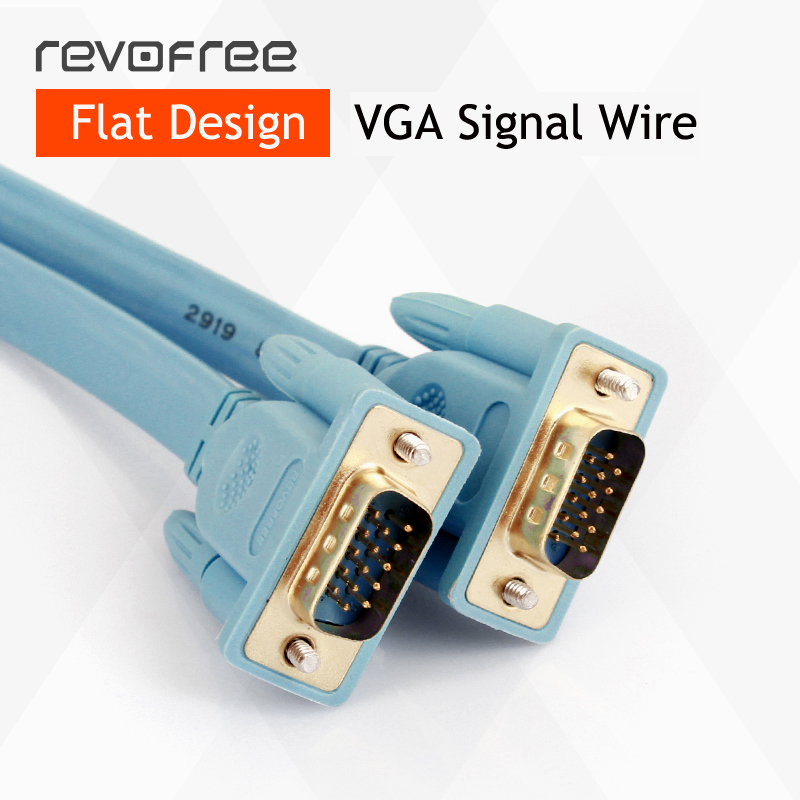 VGA flat wire cable line computer monitor TV extension cord cable connect display or projector 3+6 HD VGA cable