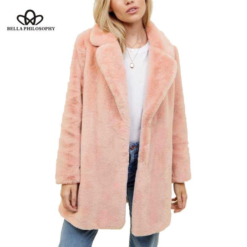 Bella Philosophy зима 2018 плюс размер женское розовое меховое Женское пальто плотное Женское пальто зимнее теплое однотонное Женское пальто куртка