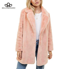 Bella Philosophy Winter 2018 Plus Size Women Pink Fur Women Coat Thick Female Coat Winter Warm Solid Women'S Coats Jacket(China)