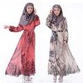 Moda Tradicional Muçulmano Vestido Abaya Em Dubai Vestuário Islâmico para as mulheres Vestido Estampado Abaya Turca Vestes Árabes Do Médio Oriente