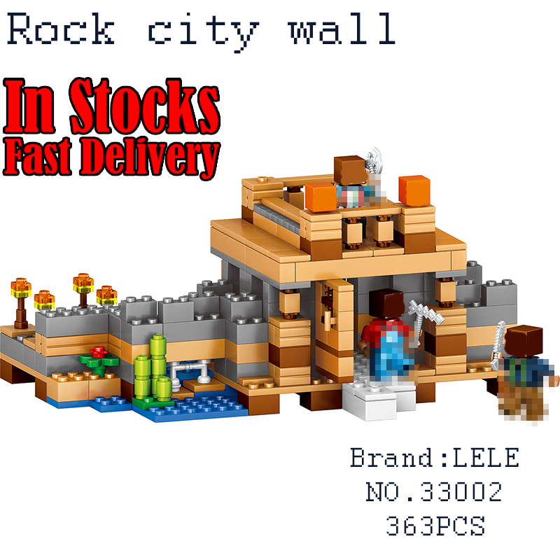 LELE My World Minecraft 33002 363PCS Village Rock City Wall Building Blocks Bricks educational toys for children gifts brinquedo lele my world power morse train building blocks kits classic educational children toys compatible legoinglys minecrafter 541 pcs