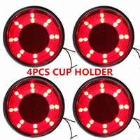 4pcs Red 8LED Recessed Stainless Steel Cup Drink Bottle Car Holder for Car/ Boat/ Yacht/ Truck/ RV/ Apartment