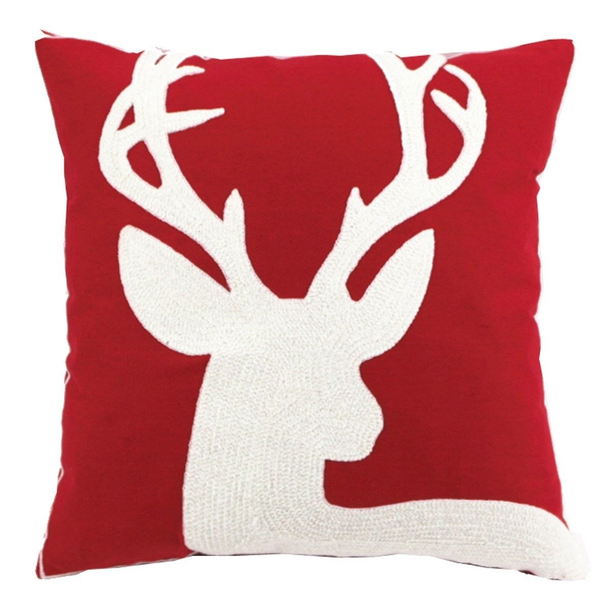 Enipate 45*45cm Christmas Style 100% Cotton Canves Wool Embroidery Christmas Sofa Cushion Cover Pillowcase