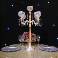 76cm Tall 5 arms Silver candelabras crystal candle holder wedding centerpieces